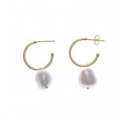 Pendientes de aros de plata chapada con perla Salvatore Ref. 164A0018