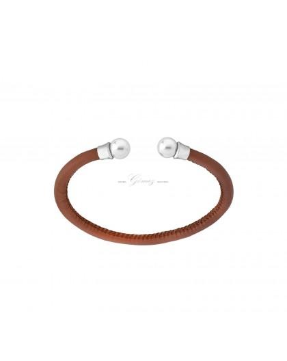Pulsera de cuero con perlas Majorica Ref. 14957.01.0.000