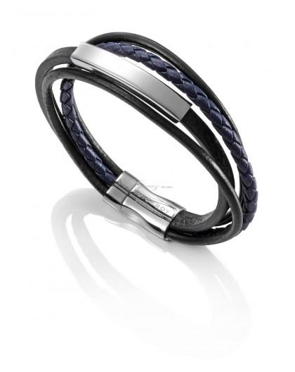Pulsera de cuero y esclava de acero Viceroy Fashion Ref. 6368P01013