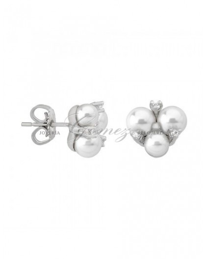 Pendientes de plata Majorica con 3 perlas Ref. 15725.01.2.000.010.1