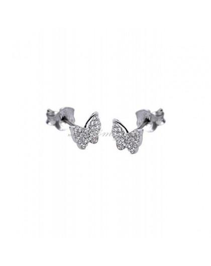 Pendientes de plata mariposas de circonitas Ref. LP1508-4/1